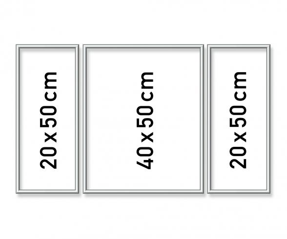 Cadre en aluminium Triptyque 50 x 80 cm – argenté mat