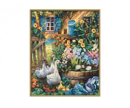 Oies dans le jardin