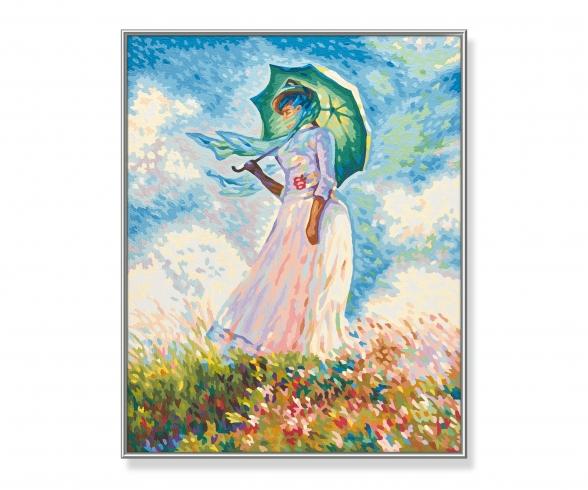 """""""Frau mit Sonnenschirm"""" nach Claude Monet (1840-1926) Malen nach Zahlen Vorlage"""