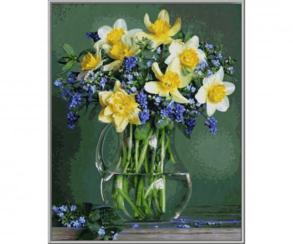 Frühlingsblumen - Malen nach Zahlen Vorlage