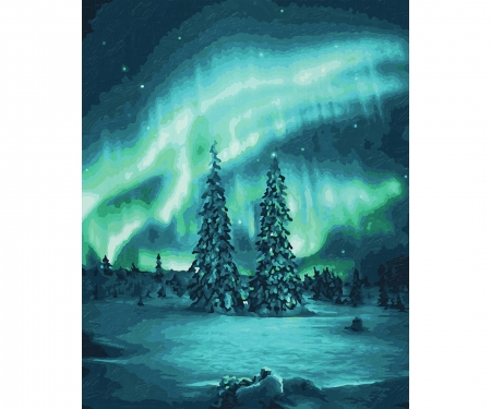 Polarlichter Malen nach Zahlen Vorlage