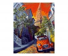 The Little Red Citroën - nach Miguel Freitas Malen nach Zahlen Vorlage