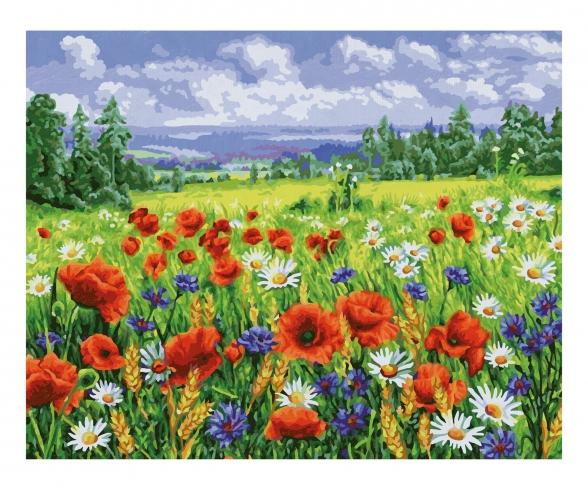 Blumenwiese Malen nach Zahlen