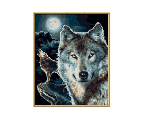 Wölfe Malen nach Zahlen Vorlage