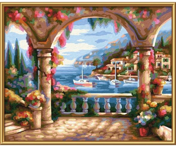 Villa am Meer Malen nach Zahlen