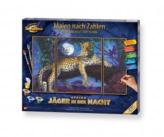 Jäger in der Nacht Leopard Malen nach Zahlen