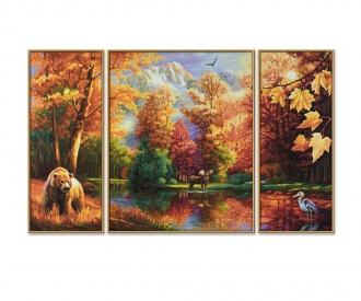 Indian Summer (Triptychon) Malen nach Zahlen Vorlage