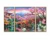 Kirschblüte in Japan (Triptychon) Malen nach Zahlen Vorlage