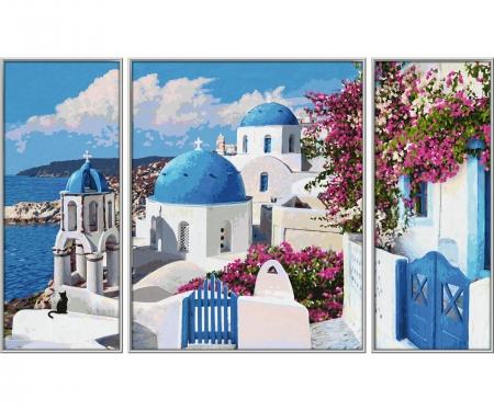 Santorin (Triptychon) Malen nach Zahlen Vorlage