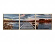 Sonnenaufgang am See (Triptychon) Malen nach Zahlen Vorlage